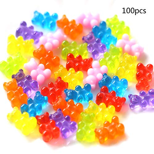 ballboU- 100PCS Resin Candy Flatback Cabochon Miniature QQ Gummy Candy Cute Bear Design Dollhouse DIY from ballboU