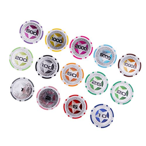 baosity 14pcs Hold ` emチップクレイボードゲームチップコイン玩具プロップ1–5-10–25–50–100–500–1000–5000–10000