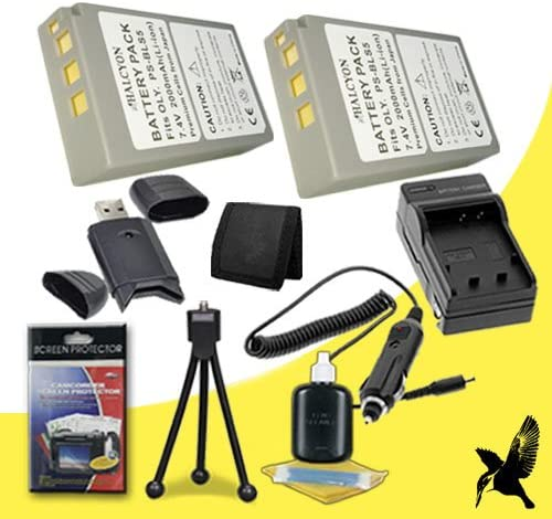 Deluxe Starter Kit for Olympus PEN Mini E-PM2 16.1 MP Digital camera and Olympus BLS-5 Memory Card Wallet Two Halcyon 2000 mAH Lithium Ion Replacement BLS-5 Battery and Charger Kit SDHC Card USB Reader