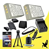 Two Halcyon 2000 mAH Lithium Ion Replacement BLS-5 Battery and Charger Kit + Memory Card Wallet + SDHC Card USB Reader + Deluxe Starter Kit for Olympus PEN Mini E-PM2 16.1 MP Digital camera and Olympus BLS-5