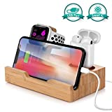 USB Charging Station for Apple Fans,15 W Fast Charger Bamboo Dock Organizer Compatible with iPhone Xs Max/XS/XR/X/8 Plus/8/7,Charging Stand Replacement for Apple Watch Series 4/3/2/1 and AirPods
