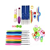 Buytra 57 Pieces 16 Sizes Stainless Steel Ergonomic Grip Crochet Hooks Yarn Knitting Needles Set with Thimble,Sewing Tape Measure,Crochet Stitch Markers,Sewing scissor,Row Counter,Point Protectors