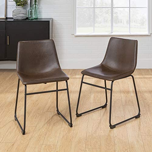 """Walker Edison Furniture 18"""" Industrial Faux Leather Kitchen Dining Chair"""