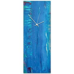 Modern Wall Clock 'Urban Blue Clock Large' by Celeste Reiter - Original Colorful Kitchen Clock Decorative Color Accent on Metal