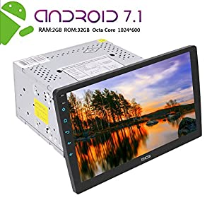 Android 7.1 Car Stereo Double Din In Dash GPS Navigation Octa Core Autoradio 2 Din Bluetooth Radio with 2GB 32GB support WiFi OBD2 10.1 inch Capacitive Touch Screen USB SD Mirror Link SWC Dual Cam-IN