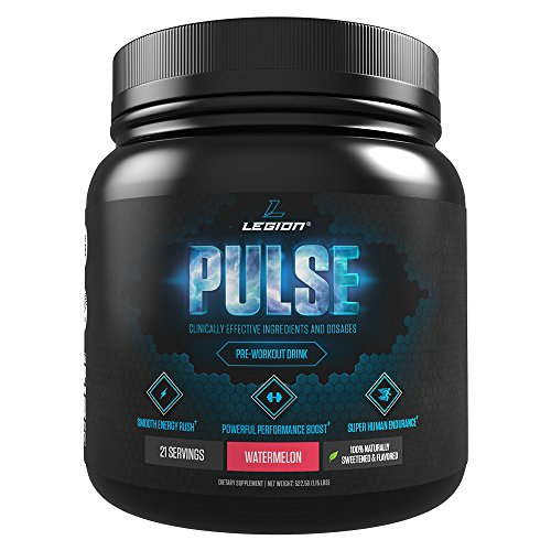 Legion Pulse Pre Workout Supplement - Best Nitric Oxide Preworkout Drink For Men and Women to Boost Energy & Endurance. Creatine Free, All Natural, Safe & Healthy. Watermelon, 21 Servings.