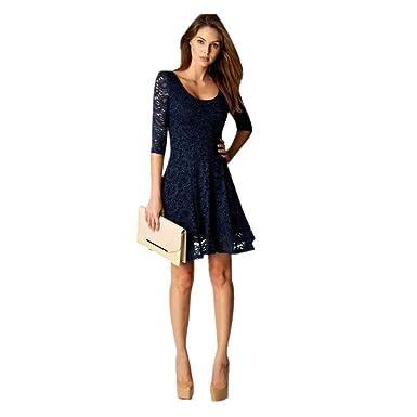 058365496c1 Tefamore Mode Femmes Dentelle moitié Manches Soirée Soirée Mini Robe   Amazon.fr  Vêtements et accessoires
