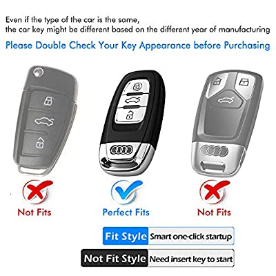Uxinuo for Audi Key Fob Cover Case Premium Soft TPU 360° Full Protection Key Shell Case Cover Compatible with Audi A4L A6L Q5 A5 A7 A8 S5 S7 Keyless Entry_(Blue): Automotive