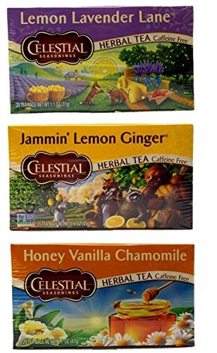 Celestial Seasonings Caffeine and Gluten Free Tea 3 Flavor Variety Bundle, 1 Each: Lemon Lavender Lane, Jammin' Lemon Ginger, Honey Vanilla Chamomile (20 Count)