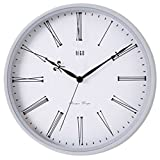 HITO Silent Non-ticking Wall Clock w/ Metal Frame, 12 Inches (Roman-white)