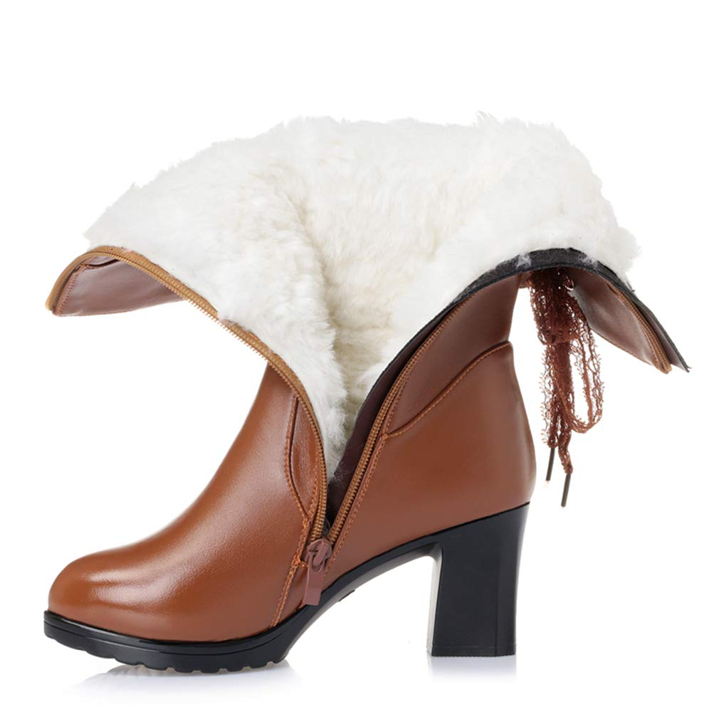 Brown Wool AVENBER Women Mid Calf Boots High Heel Thick Winter Warm Side Zipper Footwears Adult Rubber Lace Bow Decoration shoes