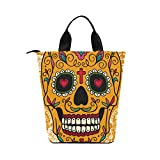 InterestPrint Creative Mexican Sugar Skull Nylon Cylinder Lunch Bag Tote Shopping Handbag, Day of the Dead Reusable Large Lunchbox Grocery Bag