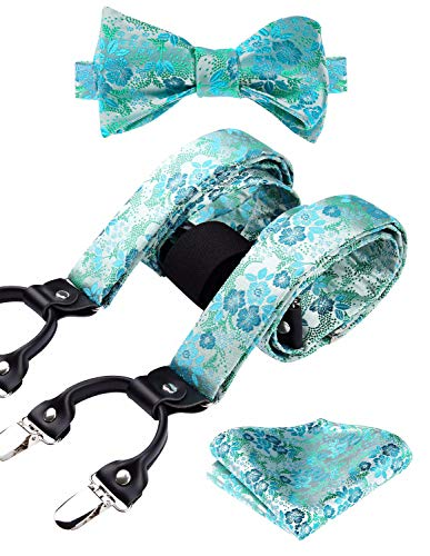 HISDERN Paisley Floral 6 Clips Suspenders & Bow Tie and Pocket Square Set Y Shape Adjustable Braces,Aqua,One Size]()