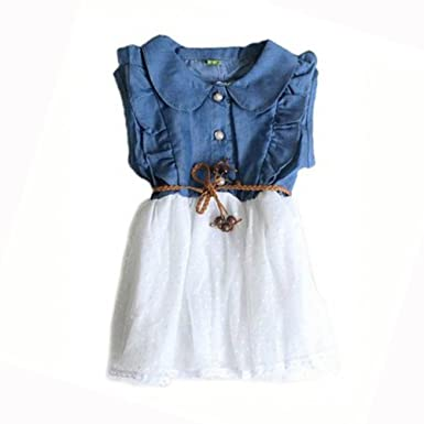 afcae8e5bc630 Baby Girls Child Princess Party Dress Clothes Kid Summer Denim Jeans ...