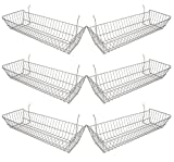 Econoco - Epoxy Chrome Multi-fit Double Sloping Wire Basket for Slatwall,  Pegboard or Gridwall (Set of 6) Semi-gloss finish, Epoxy Chrome