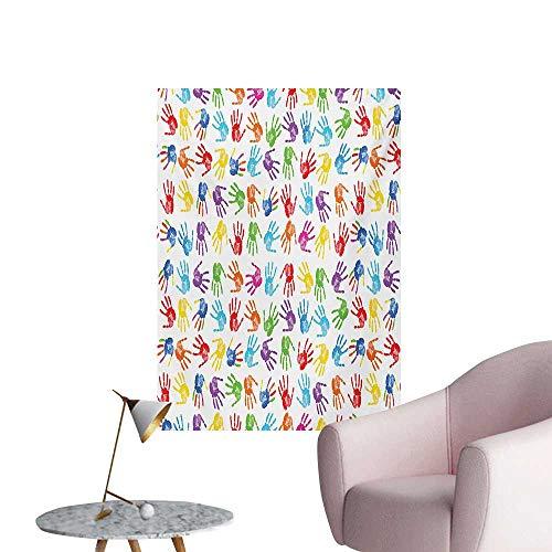 - Anzhutwelve Colorful Wallpaper Human Handprint Kids Watercolor Paint Effect Open Palms Collage Art Work PrintMulticolor W24 xL36 Wall Poster
