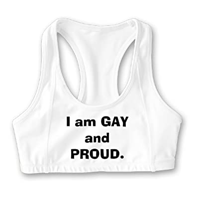 Elainery I Am Gay and Proud Womens Sports Bra - Customized Training Crop Top Yoga Wear White