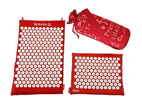 (Spoonk Back Pain and Sleep Induction Combo Set/one Regular and one Travel (Chery red))