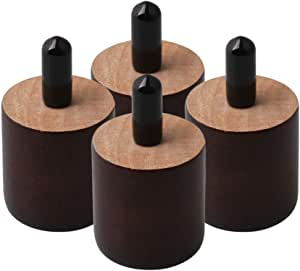 RDEXP Patas redondas de madera de 38 mm de altura y 35 mm de diámetro, color marrón, para muebles de hogar, patas M8 x 20 mm, rosca M8 x 20 mm, juego ...