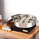 Royal Industries 12 Cup Egg Poacher with Lid, 14 1/8'' Diam x 2 1/2'' High, Aluminum -Commercial Grade