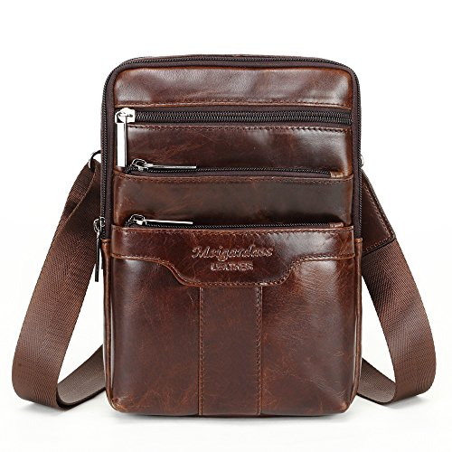 Langzu Men's Genuine Leather Cowhide Vintage Messenger Bag Shoulder Bag Crossbody Bag (Dark Brown)