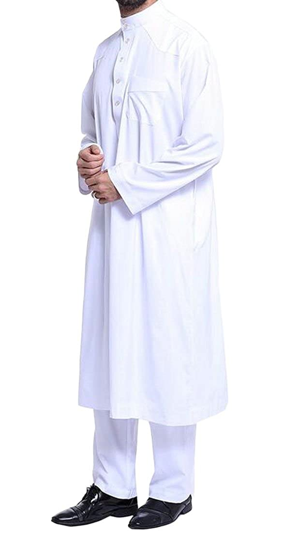 White Fubotevic Men's 2 Piece Thobe with Long Sleeves Arab Muslim Wear Calf Length and Pants