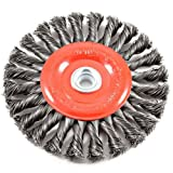 51yqViZRZoL. SL160  - Forney 72749 Wire Wheel Brush, Twist Knot Crimped with 1/2-Inch and 5/8-Inch Arbor, 6-Inch-by-.020-Inch