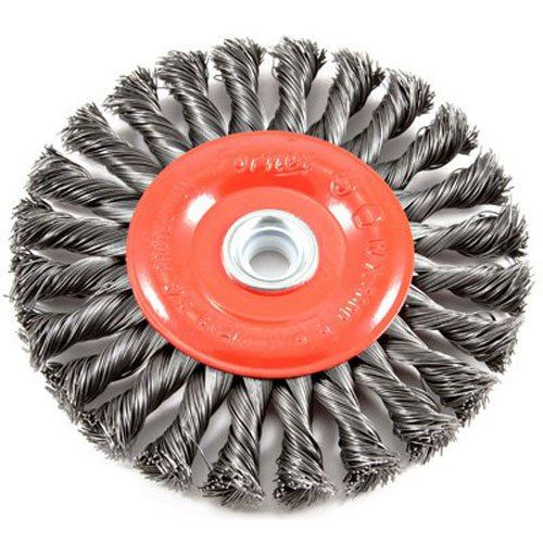 Forney Arbor - Forney 72749 Wire Wheel Brush, Twist Knot Crimped with 1/2-Inch and 5/8-Inch Arbor, 6-Inch-by-.020-Inch