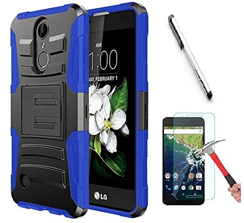Luckiefind Case Compatible with LG Rebel 4 (L212VL, TracFone 2018 Release) / Lg Aristo 2 / Tribute Dynasty, Hybrid Armor Stand Case with Holster and Locking Belt Clip (Holster Blue) ()