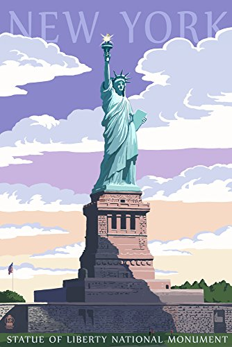 New York City, New York - Statue of Liberty National Monument (9x12 Art Print, Wall Decor Travel Poster) from Lantern Press