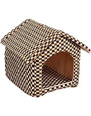 Rubeyul Hondenholt, kattenmand, hondenhok, hondenbed, kattenbed, hondenhuis, indoor/outdoor, dierenhuis voor huisdieren, pluche, zacht en warm, afneembaar (S/M/L)