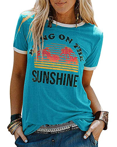 YEXIPO Womens Bring On The Sunshine T-Shirt Graphic Tees Letter Printed Loose Casual Summer Funny Tops Blue