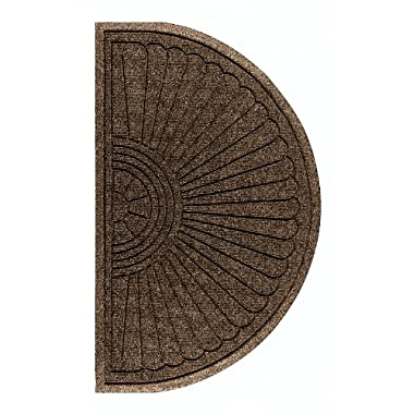 Andersen 2246 Waterhog Eco Grand Premier PET Polyester Fiber Half Oval Entrance Indoor/Outdoor Floor Mat, SBR Rubber Backing, 1.8' Length x 3' Width, 3/8  Thick, Chestnut Brown
