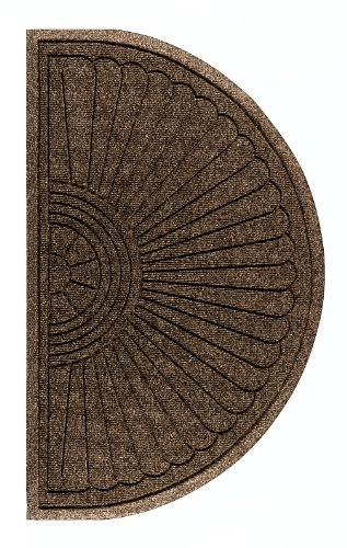 M+A Matting 2246 Waterhog Eco Grand Premier PET Polyester Fiber Half Oval Entrance Indoor/Outdoor Floor Mat, SBR Rubber Backing, 1.8' Length x 3' Width, 3/8
