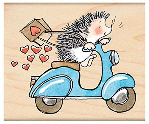 Scooter Hedgehog - Rubber Stamp On Wood (1ks), Penny Black, Inc, Rubber, Stamps, Scrapbooking Paper