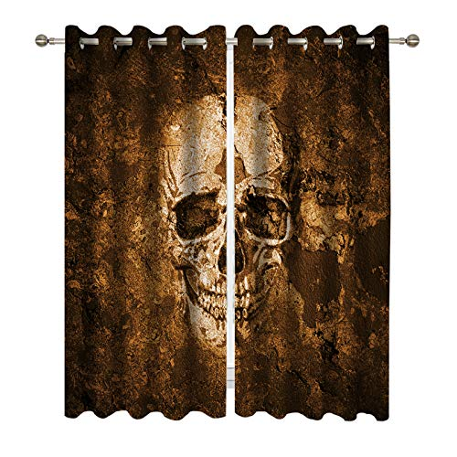 - Miblor Decorative Grommet Blackout Curtains for Bedroom, Room Darkening Window Treatments Drapes Living Room Kitchen Dorm Light Blocking Window Curtains 2 Panels, Scary Human Skull Background