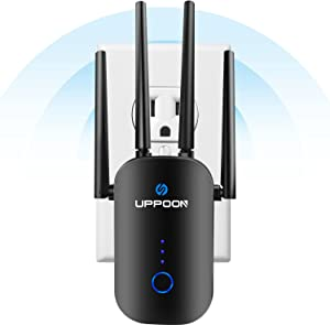 UPPOON 1200Mbps WiFi Range Extender Signal Booster for Home, Covers Up to 4500 sq.ft and 35 Devices, 2.4 & 5GHz Dual Band Internet Amplifier Repeater Supports 5 Working Modes