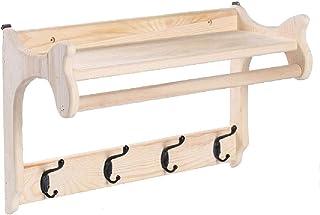 LXQGR Appendini in Legno Massiccio Appendiabiti Appendiabiti a Parete Dopo la Porta Hook Up Shelf Creativo Bedroom Coat Rack Pine HOME-001 (Dimensioni : 4 Hook)