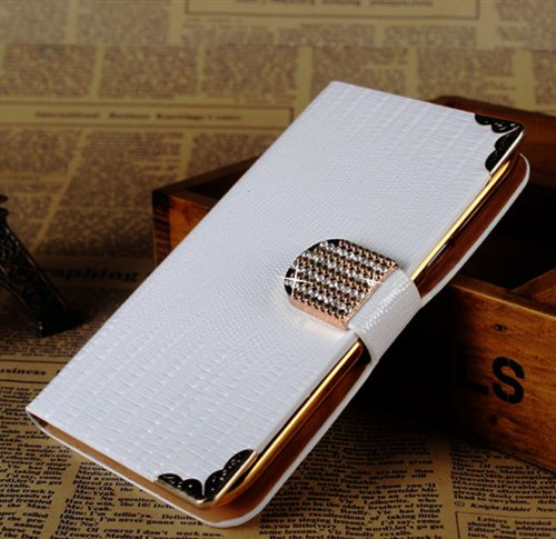 Crazy Panda Shining Crystal Flip Wallet luxury PU leather case cover skin for iPhone 5 5G 5S (white)