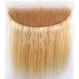 Sent Hair 8A 613 Blonde Lace Frontal Closure with Baby Hair Straight Brazilian Virgin Human Hair Frontal 13×4 Ear to Ear…