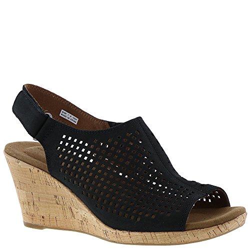 Rockport Women's, Briah Perf Sling Mid Heel Wedge Sandals Black 11 W