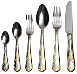 Venezia Collection ''Provenza'' 75-Piece Fine Flatware Set, Silverware Cutlery Dining Service for 12, Premium 18/10 Surgical Stainless Steel, 24K Gold-Plated Hostess Serving Set
