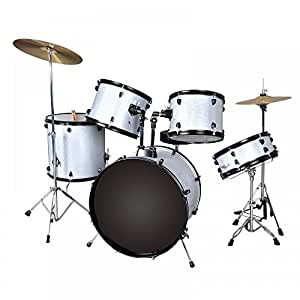 new silver drum set 5 pc complete adult set cymbals full size adult drum set j05. Black Bedroom Furniture Sets. Home Design Ideas