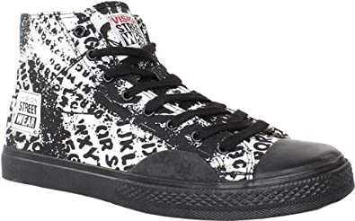 online store d6eb2 451dd Vision Street Wear Skateboard Shoes - Alphabarb Hi-Black   White, shoe size