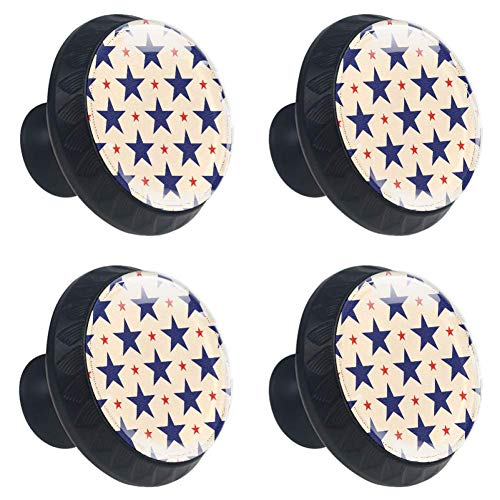(Anmarco Patriotic Blue Red Stars Drawer Knobs Pull Handles 30MM 4 Pcs Glass Cabinet Drawer Pulls for Home Kitchen Cupboard )