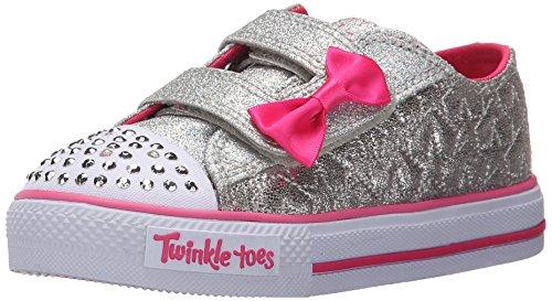 Skechers Kids Twinkle Toes Shuffles Sweet Steps Light-Up Sneaker,Silver Stars,12 M US ()