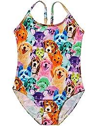Big Girls Swimwear Animal Pattern Printed One Piece Swimsuit Rainbow Dog