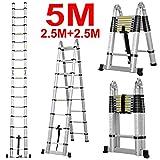 J&A Escalera Plegable Telescópica Doble De DIY, Escalera Multifuncional Portátil De Aluminio Extensible De Los 5.0m, Paso DE 2 * 8 con Antideslizante (Capacidad De Carga 150kg / 330 lbs)