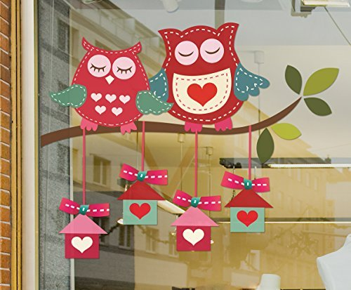 Window Stickers Large Love Owls sitting on a branch with presents hanging beneath static cling window sticker (For LEFT side of window when viewed from outside). Valentine's window stickers
