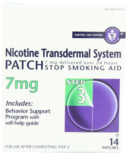 Nicotine Transdermal System Patch, Stop Smoking Aid, 7 mg, Step 3, 14 patches